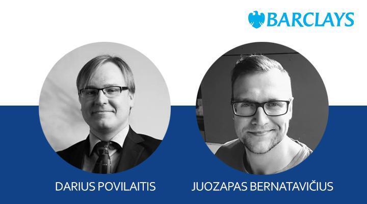 """Š. m. kovo mėn. 14 d. vieša """"Barclays"""" projektų vadovų D. Povilaičio ir J. Bernatavičiaus paskaita"""