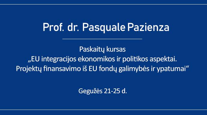 Vyks prof. dr. Pasquale Pazienza paskaitų kursas