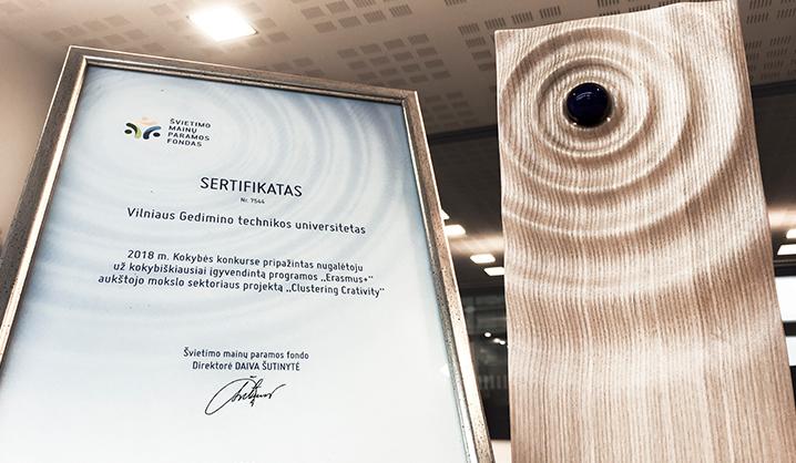 """VGTU apdovanotas už įgyvendintą programos """"Erasmus+"""" aukštojo mokslo sektoriaus projektą"""