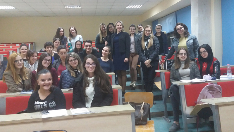 Dėstytojos Neringos Slavinskaitė vizitas į Tiranos universitetą Albanijoje