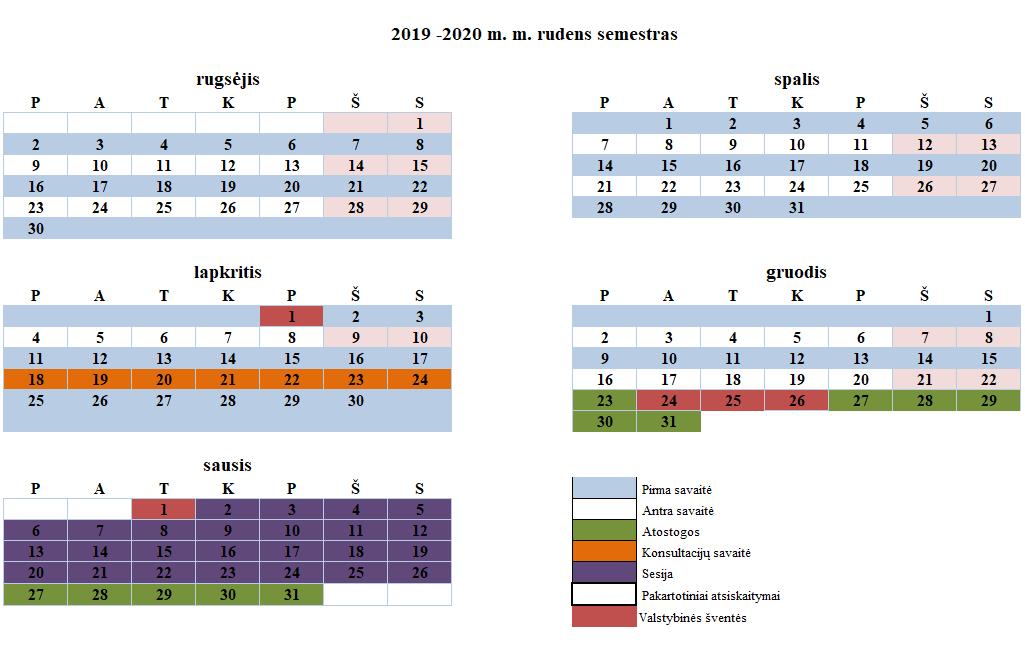 2020 Kalendorius.Vilniaus Gedimino Technikos Universiteto Studijų Kalendorius