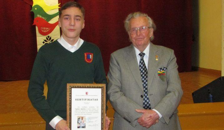 VGTU emerito vardo premija – geriausiam Kuršėnų Stasio Anglickio mokyklos mokiniui