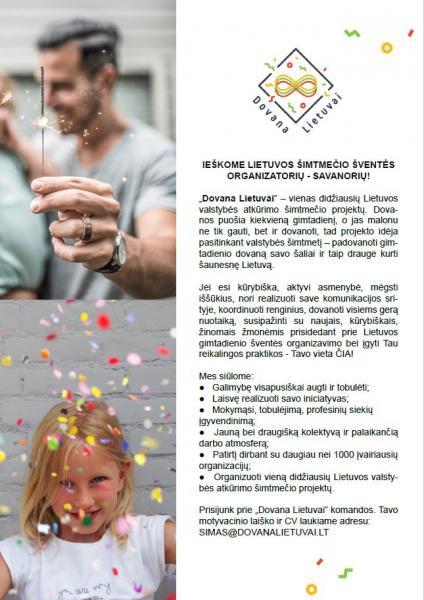 Kviečiame tapti Lietuvos šimtmečio šventės organizatoriais - savanoriais