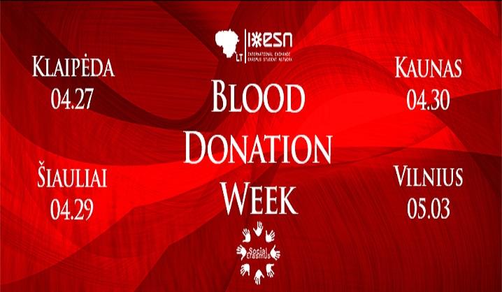 """Erasmus Studentų Tinklas ESN Lietuva skelbia """"Kraujo donorystės savaitę"""""""